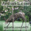 Bronze Deer sculpture by sculptor Stephen Charlton titled: 'bronze Fawn (Standing Lifesize Deer garden statue)'