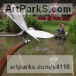 Corten Steel & Stainless Steel Garden Or Yard / Outside and Outdoor sculpture by sculptor Stephen Charnock titled: 'Dragon Fly (Metal Steel Giant Fly garden statue/sculptures/decoratio)' - Artwork View 2