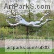 Mirrored Aluminium on fibre glass Garden Or Yard / Outside and Outdoor sculpture by sculptor Steve Yeates titled: 'The Flying Tackle (Metal Rugby Player sculptures/sculptures for sale)' - Artwork View 3