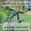 Bronze Garden Or Yard / Outside and Outdoor sculpture by sculptor Sue Riley titled: 'Anna (Contemporary abstract female Girl Woman Ballet Dancer sculpture)' - Artwork View 2