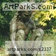 "bronze resin Sculpture of Men by Sukey Erland titled: ""Narcissus (NakedSitting Male nude Seated garden/Yard statue/sculpture)"""
