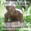 "bronze resin sculpture of females by Sukey Erland titled: ""Sarah (ColdCast bronze resin Girl Seated garden sculpture/statue)"""