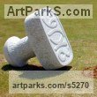 Stone Abstract Contemporary or Modern Outdoor Outside Exterior Garden / Yard Sculptures Statues statuary sculpture by Tanya Preminger titled: 'Seal (Large Outsize stone Carved Stamp statue Carving sculptures)'
