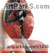 Painted cold cast Iron Abstract Modern Contemporary Avant Garde Sculptures Statues statuettes figurines statuary both Indoor Or outside sculpture by Terry New titled: 'Red Twist (Modern abstract resin garden/Yard sculptures)'
