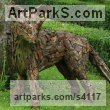 Wood, metal, bark Recycled Materials / Objets trouvees or Upcycle sculpture Statues statuettes sculpture by Tessa Hayward titled: 'Dog Fox watching (Scrap Wood and Bark Wild Animal garden sculpture)'