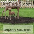 Willow Deer sculpture by Tessa Hayward titled: 'Fawn (Young Deer StandingYard garden statue)'