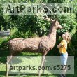 Deer sculpture by sculptor Tessa Hayward titled: 'Red Stag (life size Deer garden statue of Found Objects)'