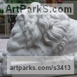 Stone Resin Cats Wild and Big Cats sculpture by sculptor Thomas Brown titled: 'Baroque Lion after Canova (stone resin sculpture)'