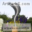 Stainless steel & oak Abstract Contemporary or Modern Large Public Art sculpture statuary sculpture by sculptor Thomas Joynes titled: 'Singularity (Swirling stainless Steel Contemporary Whirlwind statues)'