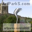 Stainless steel & oak Stainless Steel Abstract Contemporary Modern sculpture by sculptor Thomas Joynes titled: 'Singularity (Swirling stainless Steel Contemporary Whirlwind statues)' - Artwork View 2