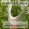 Stainless steel & oak Sculpture or Statues made from Metal Rods or Bars sculpture by sculptor Thomas Joynes titled: 'Spin (Swirling Repetitive Minimalist garden Yard sculpture)'