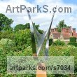 Stainless steel & oak Abstract Contemporary or Modern Outdoor Outside Exterior Garden / Yard sculpture statuary sculpture by sculptor Thomas Joynes titled: 'String Theory (abstract Contemporary stainless Steel garden statue)' - Artwork View 3