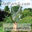 Stainless steel & oak Abstract Contemporary or Modern Outdoor Outside Exterior Garden / Yard sculpture statuary sculpture by sculptor Thomas Joynes titled: 'String Theory (abstract Contemporary stainless Steel garden statue)' - Artwork View 5