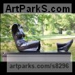 Bronze Garden Or Yard / Outside and Outdoor sculpture by sculptor Ton Voortman titled: 'Reverie in an early Spring Sunshine (Reclining Empty Dress statue)' - Artwork View 1