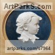Coloured earthenware in a turned frame Bas Reliefs or Low Reliefs sculpture by sculptor Tristan MacDougall titled: 'Bas-relief Portrait of a Boy (ceramic custom Bespoke Commission Panel)'