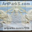 Coloured earthenware Classical Style Sculptures and sculpture by sculptor Tristan MacDougall titled: 'Helios (Sun God and ChariotBIg Large Wall Panel Bas Relief sculpture)'