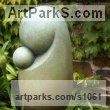 Bronze Abstract Contemporary Modern Outdoor Outside Garden / Yard sculpture statuary sculpture by sculptor Anthony Veale titled: 'Mother and Child (Bronze Minimalist Modern abstract statue/sculpture)' - Artwork View 1