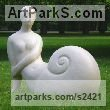 Ceramics Females Women Girls Ladies sculpture statuettes figurines sculpture by sculptor Vera Viglina titled: 'The Snail (Fun garden Semi abstract Metamorphic nude Girl sculptures)'