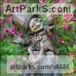 Bronze Stylized People sculpture by Victoria Chichinadze titled: 'Money-Lender (Fun Pixie Gnome Big sculpture)'
