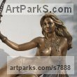 Broinze Nude sculpture statuette Figurine Ornament sculpture by sculptor Vittorio Tessaro titled: 'Goddess Patrizia (Bronze Reclining nude Goddess statue)'