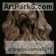 Bronze Dogs sculpture by sculptor Wesley Wofford titled: 'Adoration (Bronze Cavalier King Charles Dog Head Bust sculpturette)' - Artwork View 3