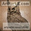 Bronze American Animal Bird Reptile and Fish Sculptures, Statues, statuettes, figurines sculpture by Wesley Wofford titled: 'Nocturne (Large Owl High Relief Wall Plaque statue)'