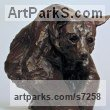 Bronze Bears sculpture by Wesley Wofford titled: 'Secluded (Little Brown American Bear Indoor sculpture)'