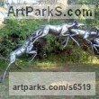 African Art Sculpture Statuary sculpture by sculptor Mary Wildlife Garden Creations titled: 'Impala Herd (Leaping Jumping statue)'