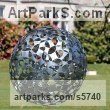 Galvanised Steel Spherical Globe like Ball shaped Round Abstract Contemporary sculpture statuette sculpture by sculptor Will Carr titled: 'Dark Matter (Round Shiny Steel Ball Spherical garden/Yard Ornament)'