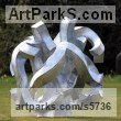 Galvanised Steel Abstract Contemporary or Modern Outdoor Outside Exterior Garden / Yard sculpture statuary sculpture by sculptor Will Carr titled: 'Encompassed (Conceptual Steel Lacoan abstract Round garden/Yard)'