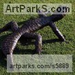 Steel Reptiles Sculptures and Amphibian sculpture by sculptor Will Carr titled: 'Steel Gecko (Outdoors Outsize/Big Reptile garden/Yard for sale)'
