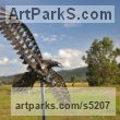 Steel Birds of Prey / Raptors sculpture by sculptor Will Carr titled: 'Wedgetail Eagle (Metal life size Bird of Prey/Raptor Outdoor garden art)'