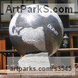 Kilkenny Limestone Garden Or Yard / Outside and Outdoor sculpture by sculptor Will Davies titled: 'Globe (Limestone World Map Globe Carving statue)' - Artwork View 3