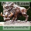 Bronze Pigs, Sows, Boars, Hogs, Piglets Sounders Sculptures or sculpture by sculptor William Mather titled: 'Wild Boar (Small bronze Caricature charging statue)'