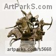 Animal Kingdom sculpture by sculptor Zakir Ahmedov titled: 'Charge (Cavalry Charge of Tartars, Mongols sculptures/statuette)'
