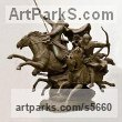 Bronze Tabletop Desktop Small Indoor Statuettes Figurines sculpture by sculptor Zakir Ahmedov titled: 'Charge (Cavalry Charge of Tartars Mongols statuette)' - Artwork View 2