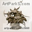Bronze Tabletop Desktop Small Indoor Statuettes Figurines sculpture by sculptor Zakir Ahmedov titled: 'Charge (Cavalry Charge of Tartars Mongols statuette)' - Artwork View 5