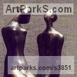 Bronze Wedding Anniversary Gift or Present Sculptures Statues statuettes sculpture by Zakir Ahmedov titled: 'I am and She (Bronze Small Young nude Lovers statues)'