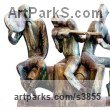 Bronze Couples or Group sculpture by sculptor Zakir Ahmedov titled: 'Mugam (Little Bronze Musican Trio Group sculptures)'