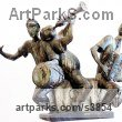 Bronze Musician and Musical sculpture by sculptor Zakir Ahmedov titled: 'Musicians (Small Bronze Trio Drummer Accordion Trumpet Players statue)'