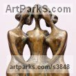 Bronze Females Women Girls Ladies sculpture statuettes figurines sculpture by sculptor Zakir Ahmedov titled: 'Three Friends (Bronze nude 3 Graces Girl`s Standing statuettes)'